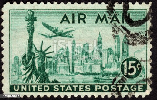 istock United States postage stamp used for airmail deliveries overseas 469908873