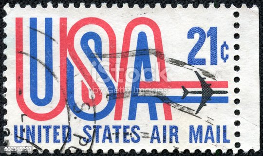 istock United States postage stamp used for airmail deliveries overseas 500345223