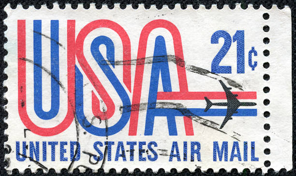 United States postage stamp used for airmail deliveries overseas stock photo