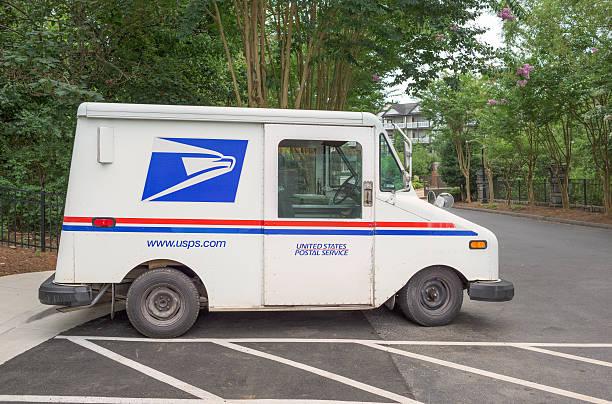 United States Postal Service truck parked in Atlanta, Georgia stock photo