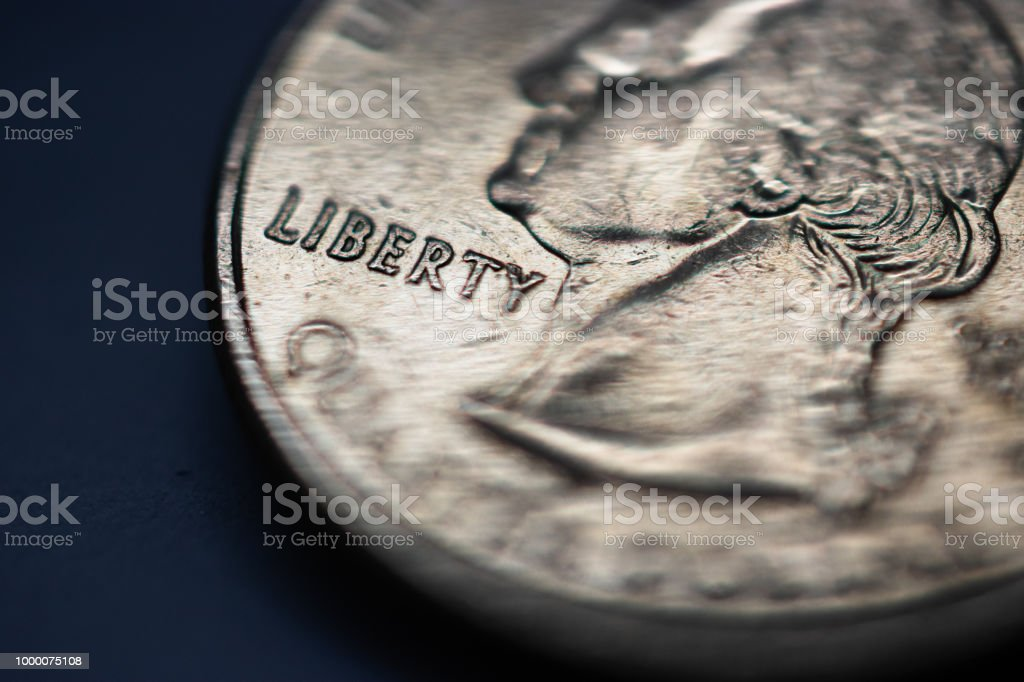 United States Quarter coin with focus on Liberty macro stock photo