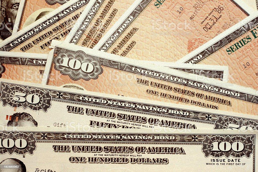United States savings bonds of varying amounts stock photo