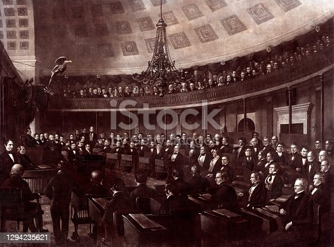 Vintage engraving features the United States Senate, the upper chamber of the United States Congress, which, along with the United States House of Representatives—the lower chamber—constitutes the legislature of the United States.