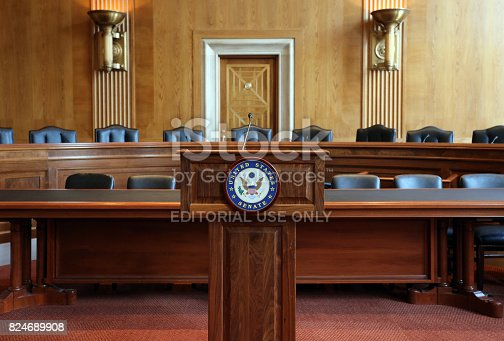 Washington, DC, USA - July 18, 2017: A United States Senate committee hearing room. The United States Senate is the upper chamber of the United States Congress.