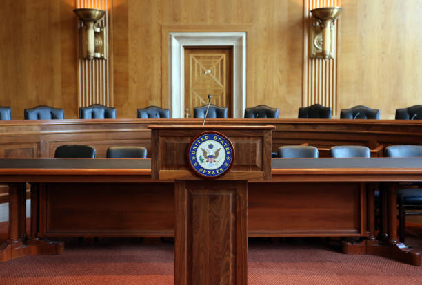 United States Senate Committee Hearing Room stock photo