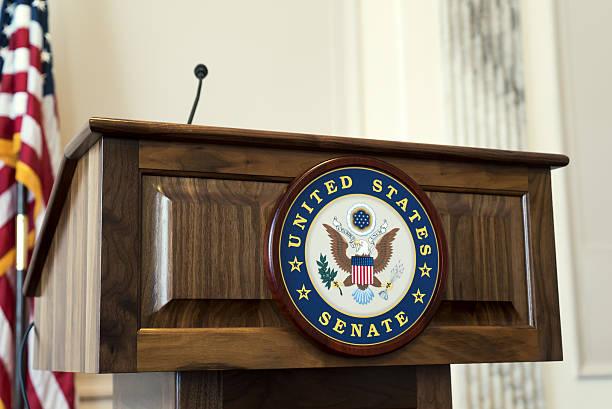 United States Senate Podium at Capitol Hill stock photo