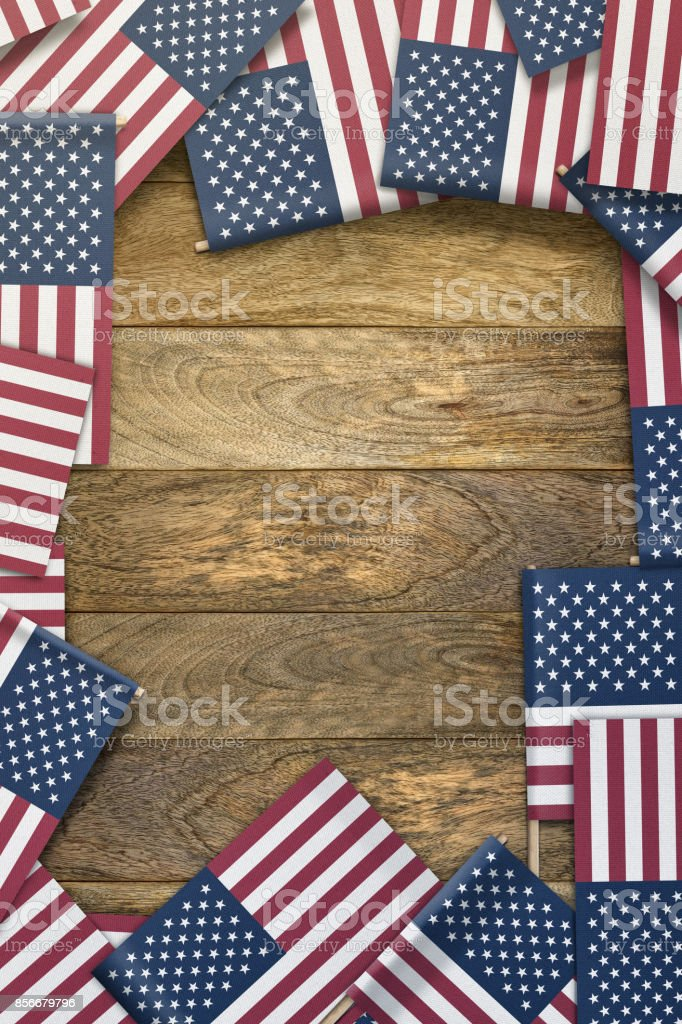 United States Small Flags Framing A Wood Texture Background With ...