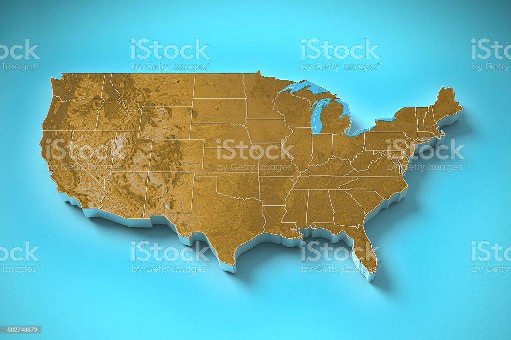 Topography Map Of Usa.United States Topography Map Stock Photo More Pictures Of Boundary
