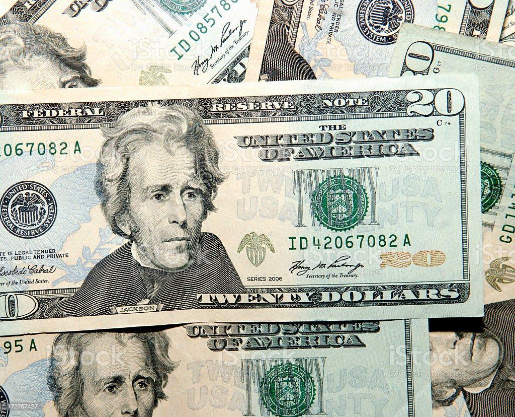 United States Twenty Dollar Bills stock photo