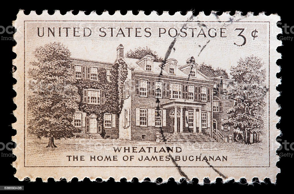 United States used postage stamp showing home of James Buchanan stock photo