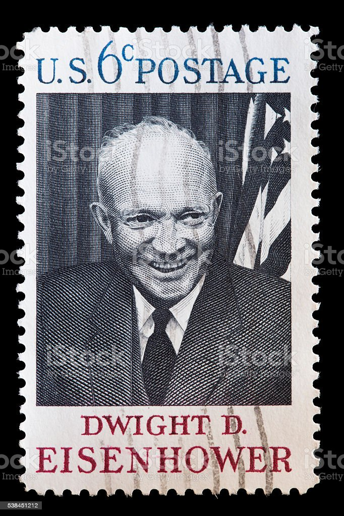 United States used postage stamp showing portrait of Dwight Eisenhower stock photo