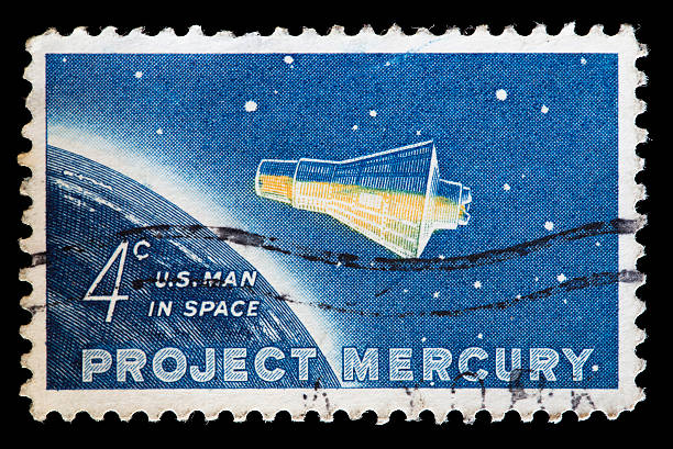 United States used postage stamp showing Project Mercury capsule stock photo