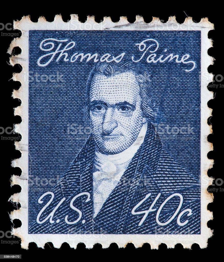 United States used postage stamp showing revolutionist Thomas Paine stock photo
