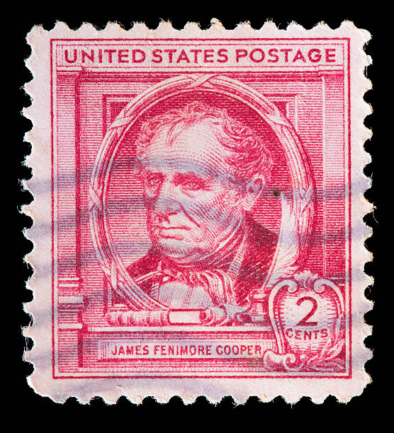United States used postage stamp showing writer James Fenimore Cooper stock photo
