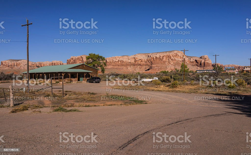 United States. Utah. San Juan County. Town of Bluff: streetview stock photo