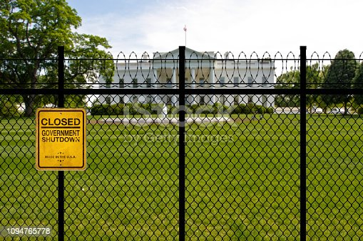 United States White House, Washington DC with chains and padlock during the government shutdown