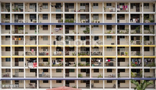 The facade of a Public Housing Flat at Kampong Kayu Road, Singapore. A glimpse of people's life on living in 32 years old apartments.