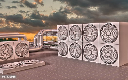 istock HVAC (Heating, Ventilating, Air Conditioning) units on roof. 3D illustration 517135968