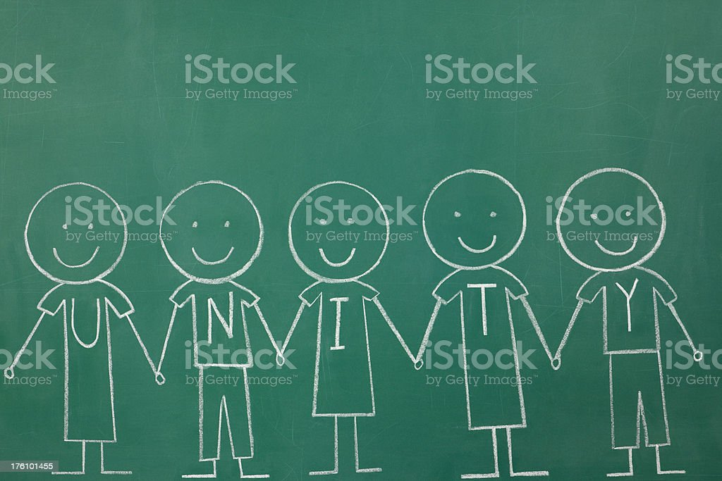 Unity Chalk drawing royalty-free stock photo