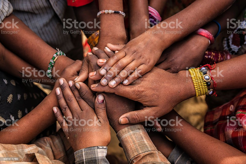 Unity of Indian children, Asia stock photo