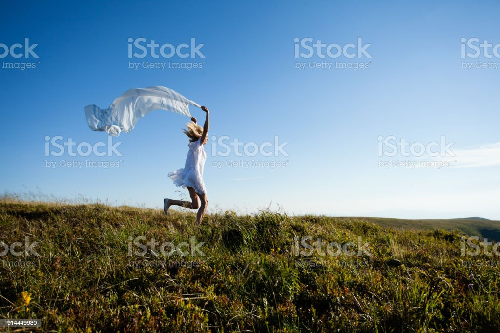 Unity Of The Girl With Nature Stock Photo - Download Image