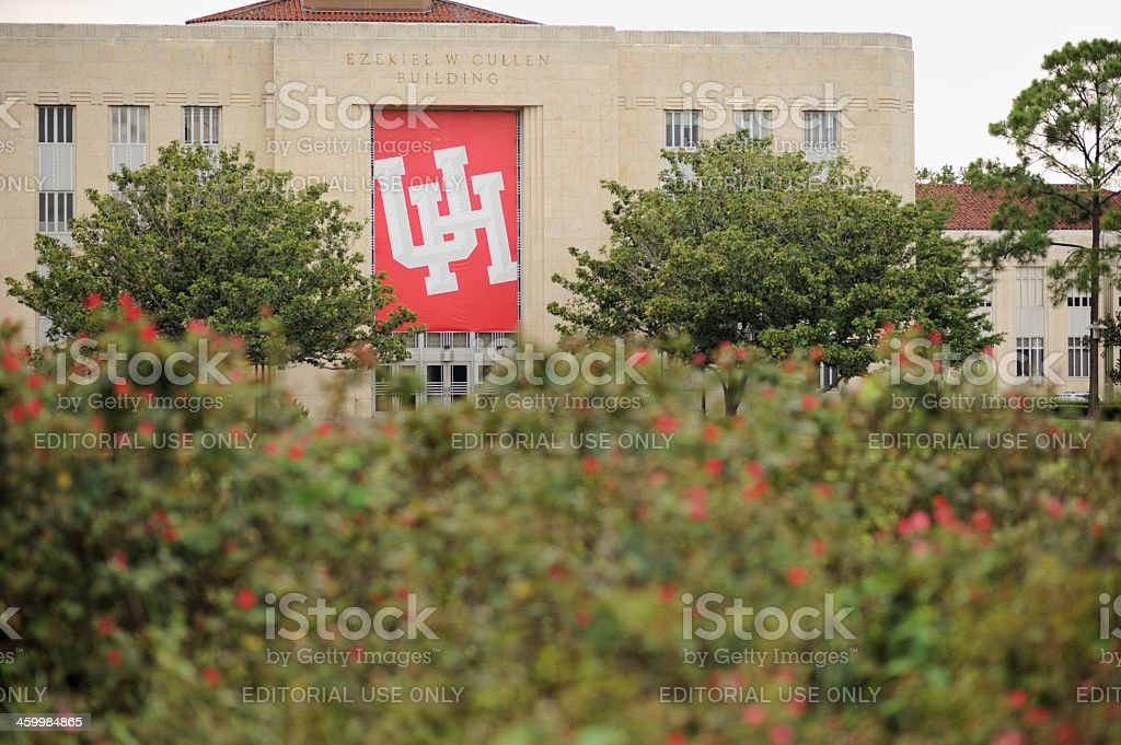 Univeristy of Houston building with sign stock photo