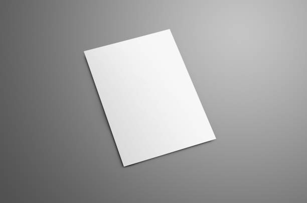 Universal blank A4, (A5) bi-fold brochure with soft realistic shadows isolated on gray background stock photo