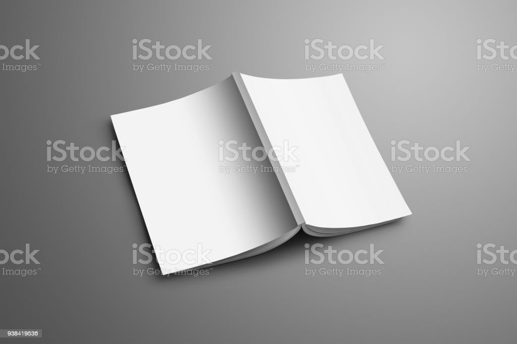 Universal blank A4, (A5) catalog with soft realistic shadows isolated on gray background. stock photo