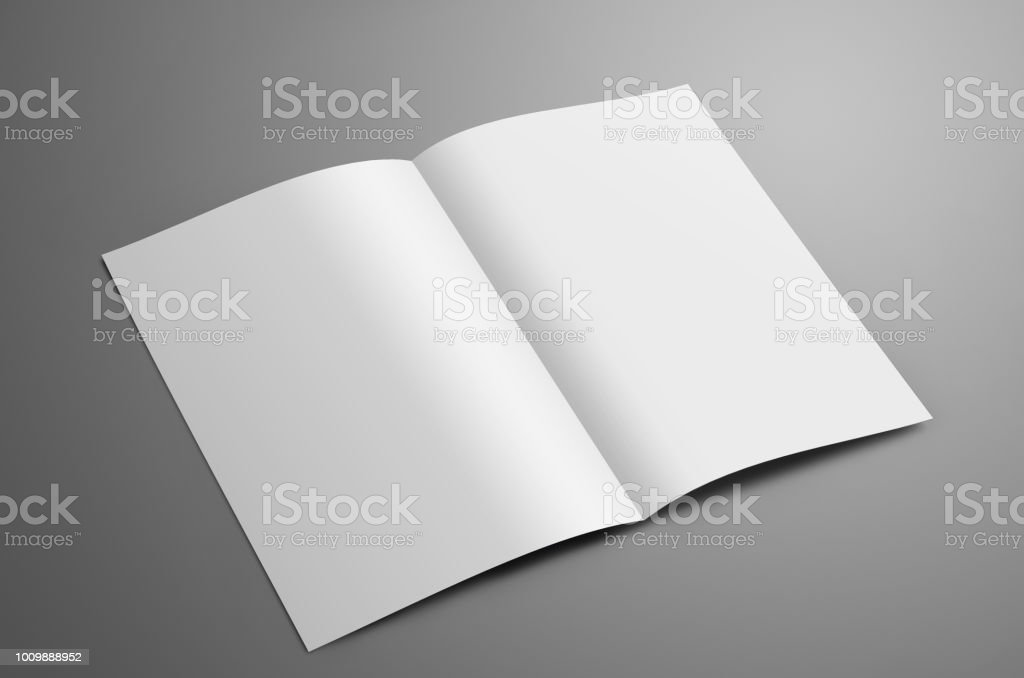 Universal blank  one A4, (A5) bi-fold brochure with  shadows isolated on gray background stock photo