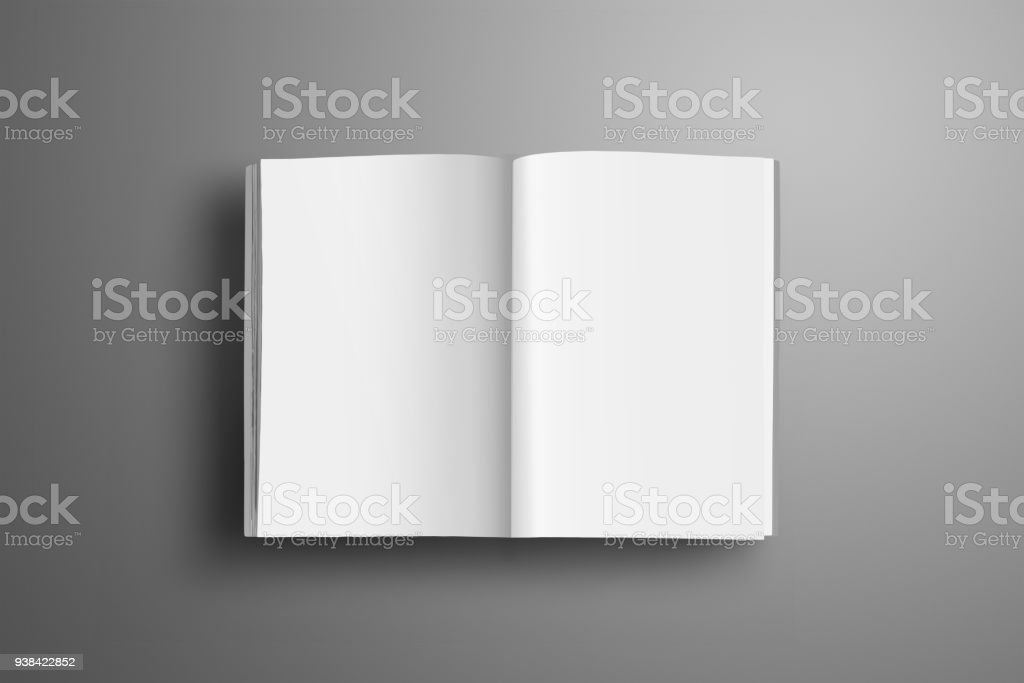 Universal blank opened A4, (A5) brochure with soft realistic shadows isolated on gray background. Top of view. stock photo