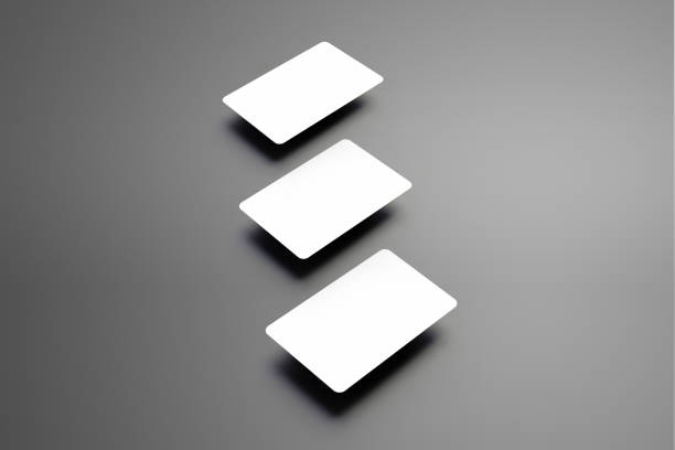 universelle leere vorlage von drei bankkarte (geschenk) auf einem hintergrund. - gutschein ausdrucken stock-fotos und bilder