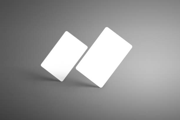 universal business modell für zwei bank (geschenk) karten auf einem grauen hintergrund isoliert. - gutschein ausdrucken stock-fotos und bilder