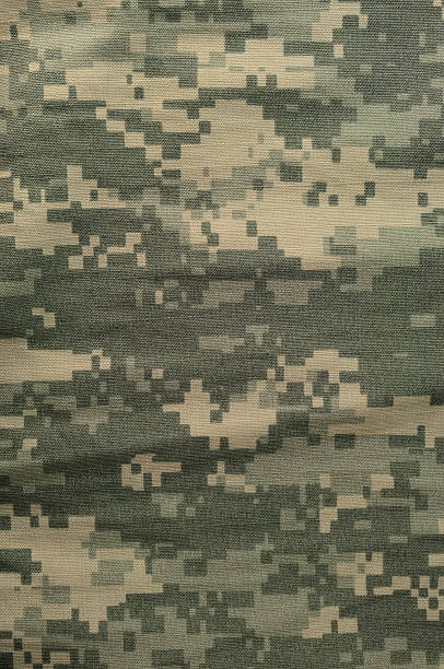Universal camouflage pattern, army combat uniform digital camo, USA ACU Universal camouflage pattern, army combat uniform digital camo, USA military ACU macro closeup, detailed large rip-stop fabric texture background, crumpled, wrinkled, foliage green, yellow desert sand tan, urban gray grey NYCO, nylon, cotton, vertical textured swatch camouflage stock pictures, royalty-free photos & images
