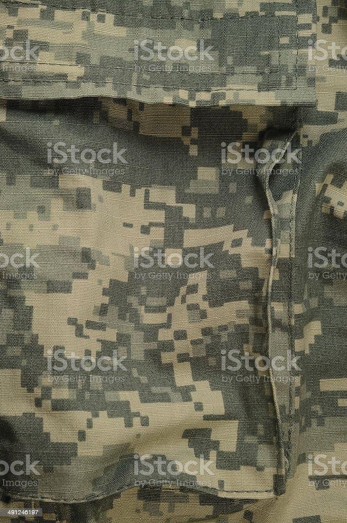 Universal camouflage pattern cargo storage pocket, army combat uniform ACU stock photo