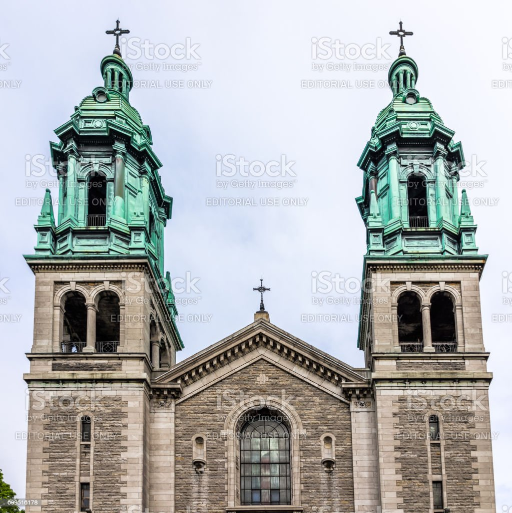 Universal church on Sainte Catherine street in Sainte Marie neighborhood in city in Quebec region stock photo
