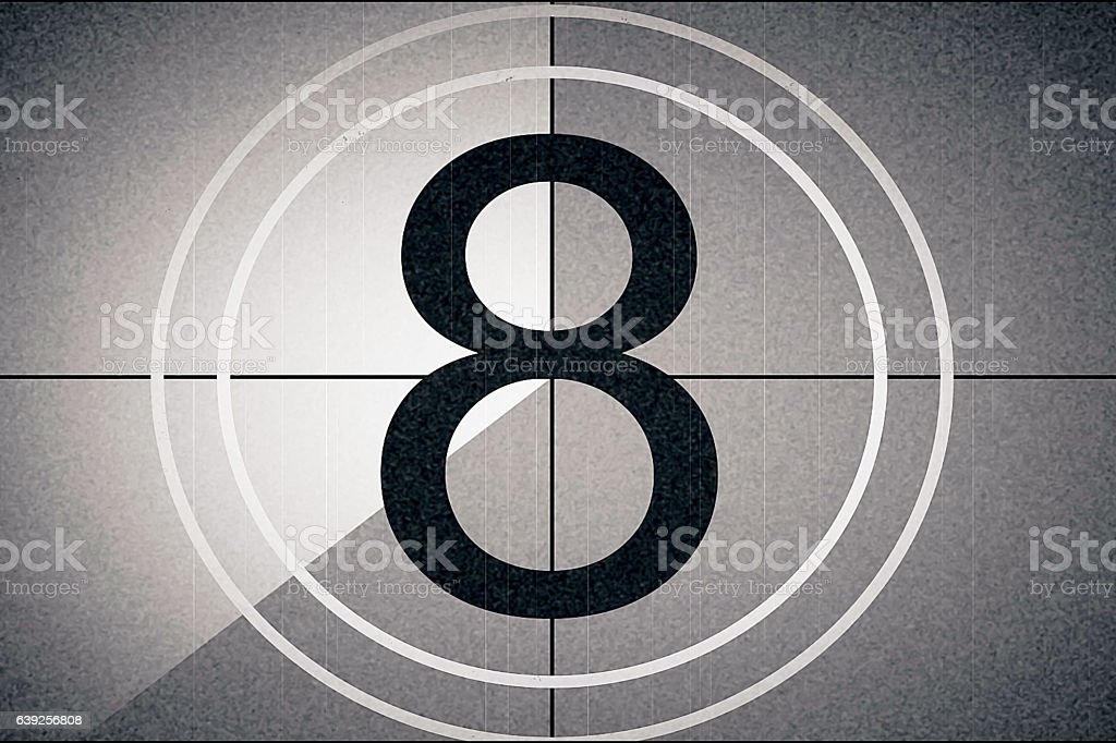 universal film leader, symbol counting down from 8 stock photo