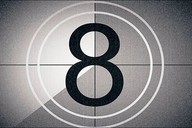 universal film leader, symbol counting down from 8 - countdown stock photos and pictures