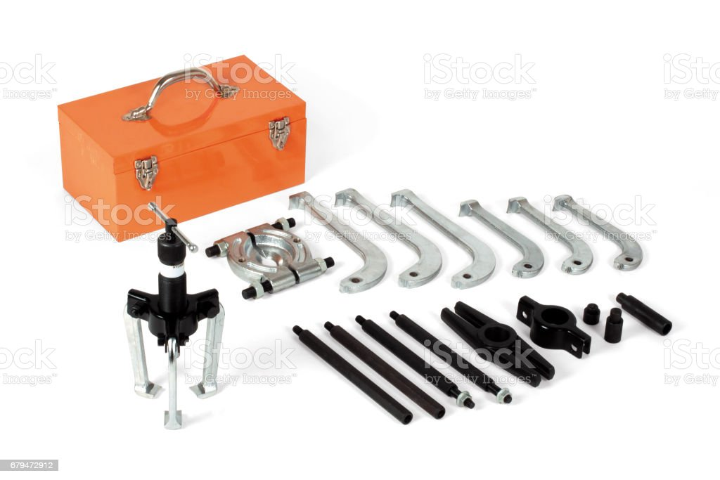 Universal hydraulic puller set, isolated on white background with clipping path 免版稅 stock photo