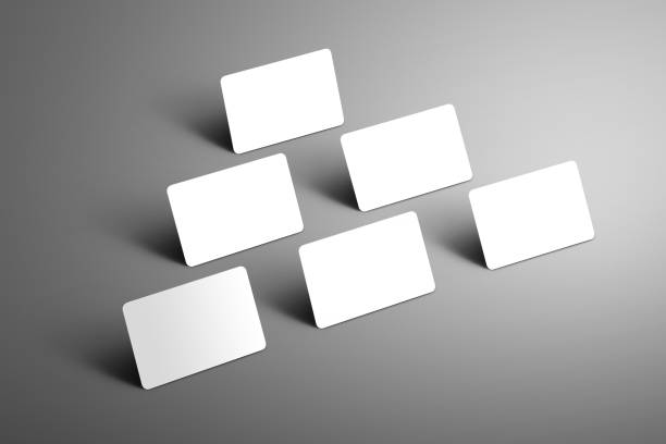 universelle mock-up von sechs bank geschenkkarten in einem dreieck auf einem grauen hintergrund angeordnet. - gutschein ausdrucken stock-fotos und bilder