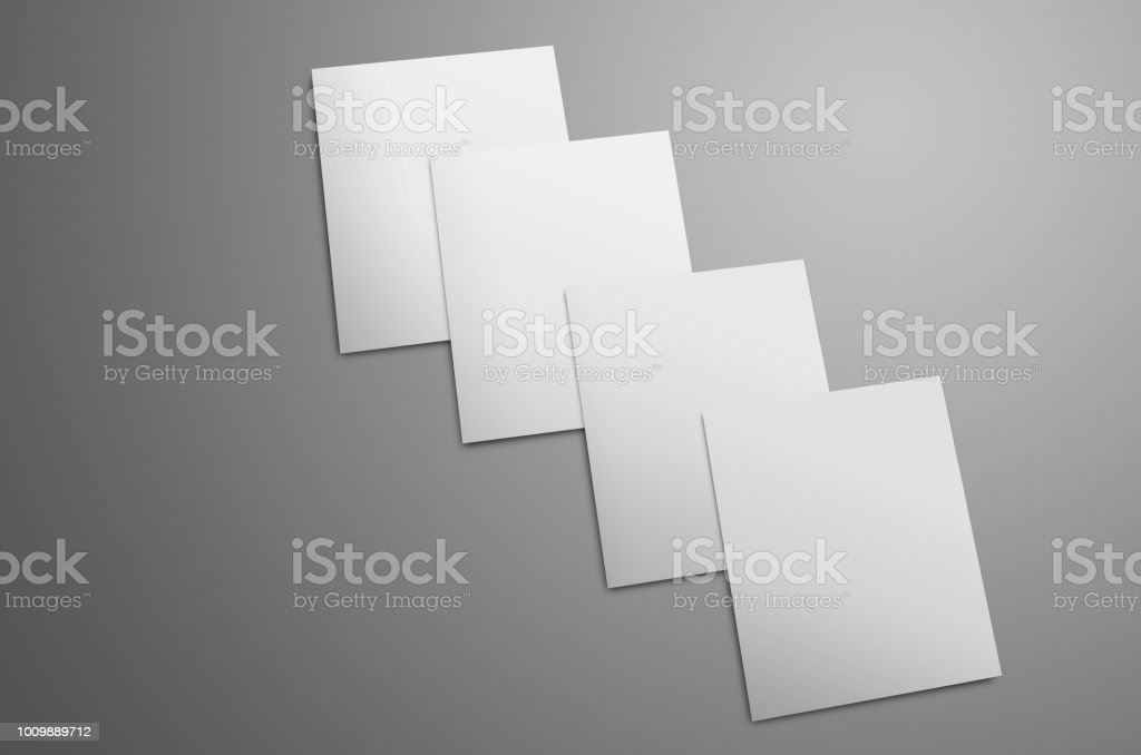 Universal  mockup  with white  four  A4, (A5) bi-fold brochures isolated on gray background. stock photo