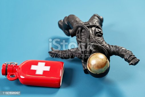istock Universal set of Christmas gifts on a colored background, with copy space. 1192898992