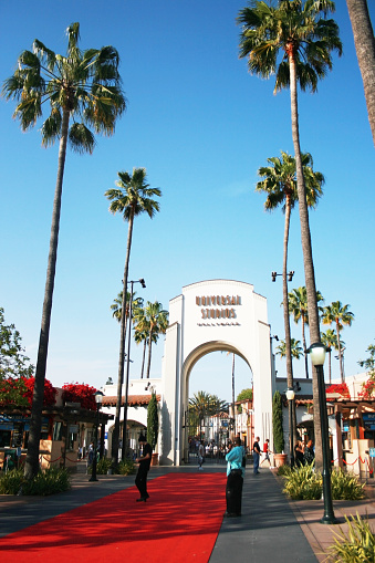 Los Angeles, California - May 3, 2008: Universal studio entrance with red carpet.
