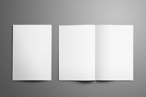 Universal tempalte with two white  A4, (A5) bi-fold brochures isolated on gray background. stock photo