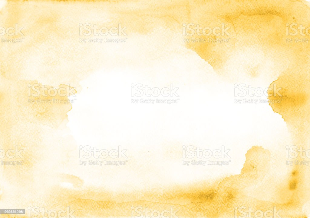 Universal watercolor yellow frame with stains of paint on a white paper texture. Ideal for text, layouts, banners and advertising. zbiór zdjęć royalty-free