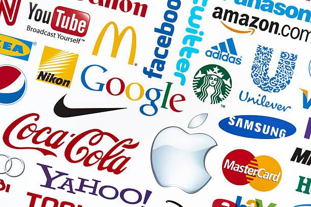 Universally popular brand logotypes stock photo