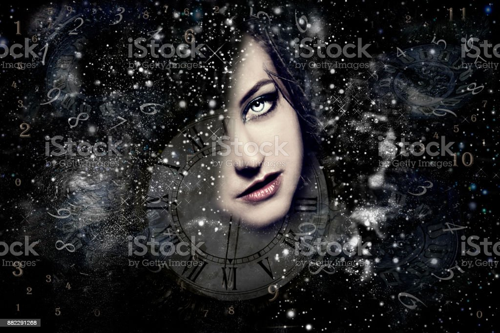 Universe and woman's face, other reality stock photo