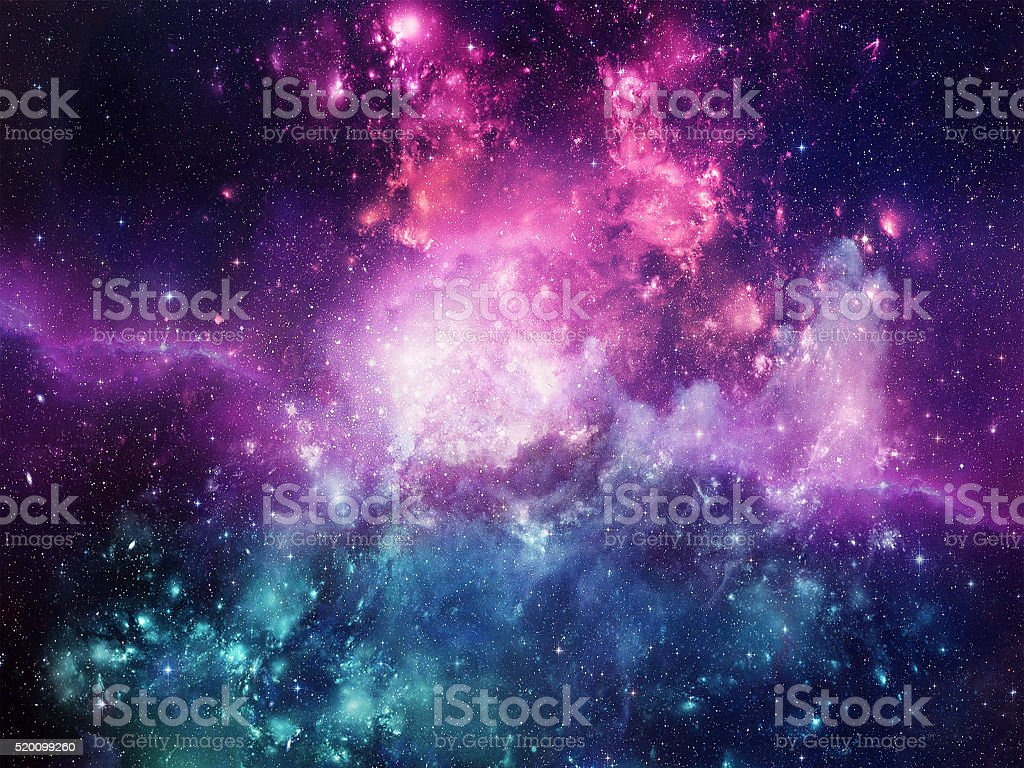 Universe filled with stars, nebula and galaxy stock photo