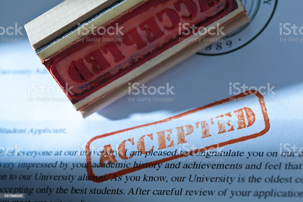 University Application Acceptance Notification Letter with ACCEPTED stock photo