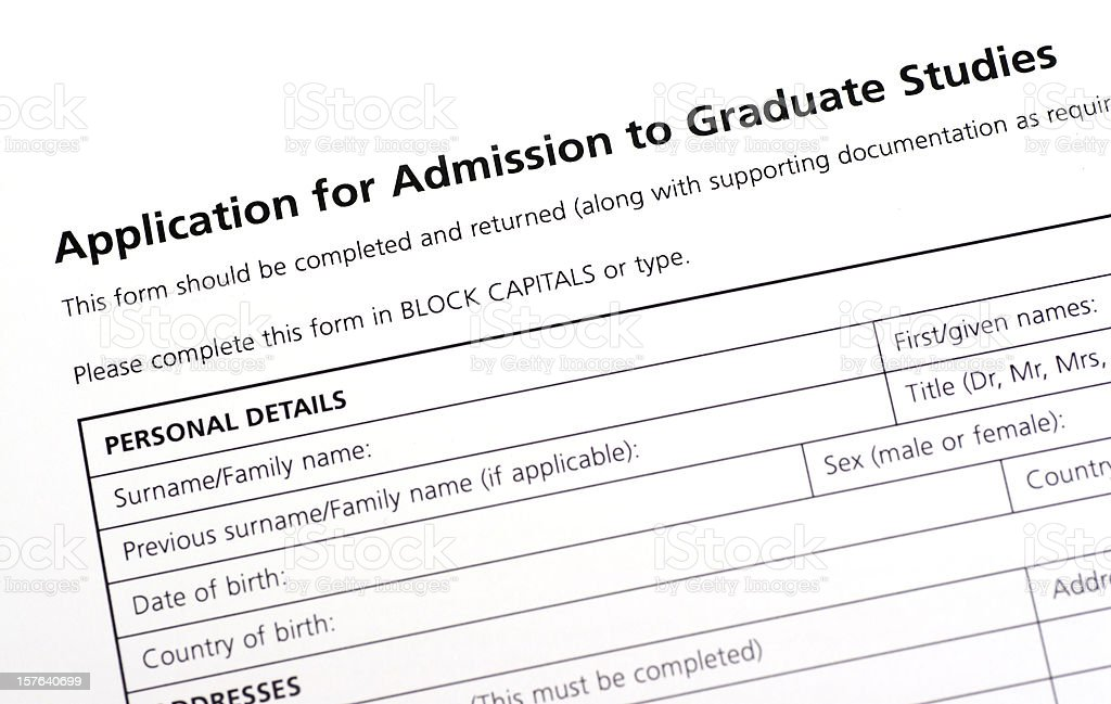 University application form royalty-free stock photo