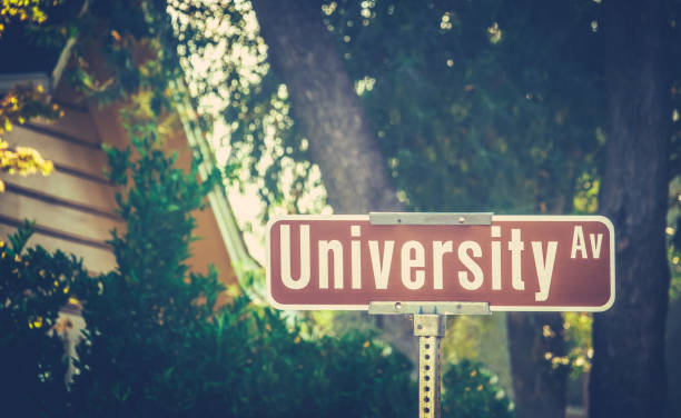University Ave Sign University Ave Street Sign At Liberal Arts College ivy league university stock pictures, royalty-free photos & images